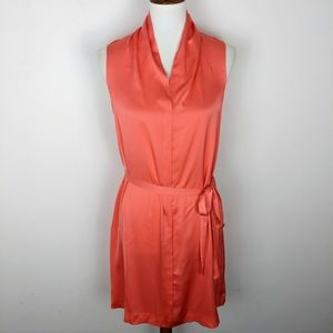 Theory Belted Silk Sleeveless Dress Coral
